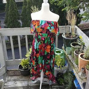 Strapless Tropical Dress 🌺